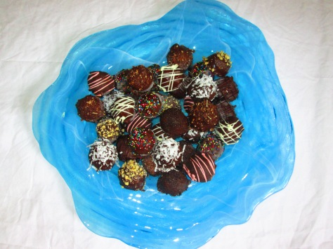 chocolate covered cake bites